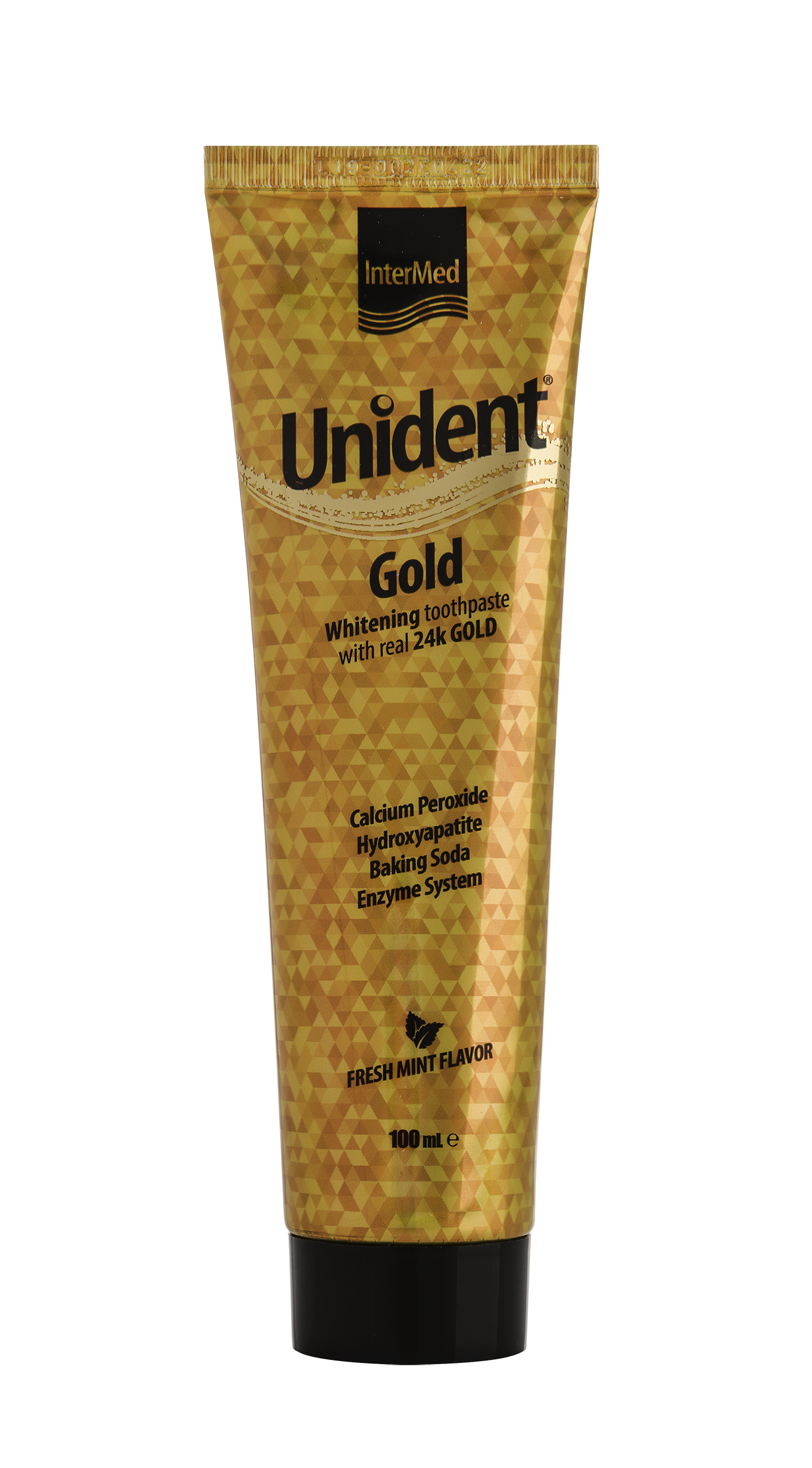 Unident gold toothpaste tube packaging